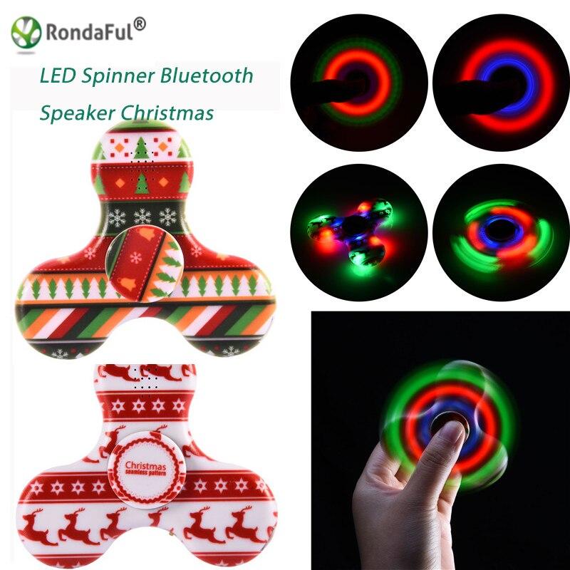 10 Pcs Spinner Bluetooth Speaker Built in Fingertip Speakers LED Light Tri-Spinner Fidget Anti Stress Speaker Bluetooth Receiver