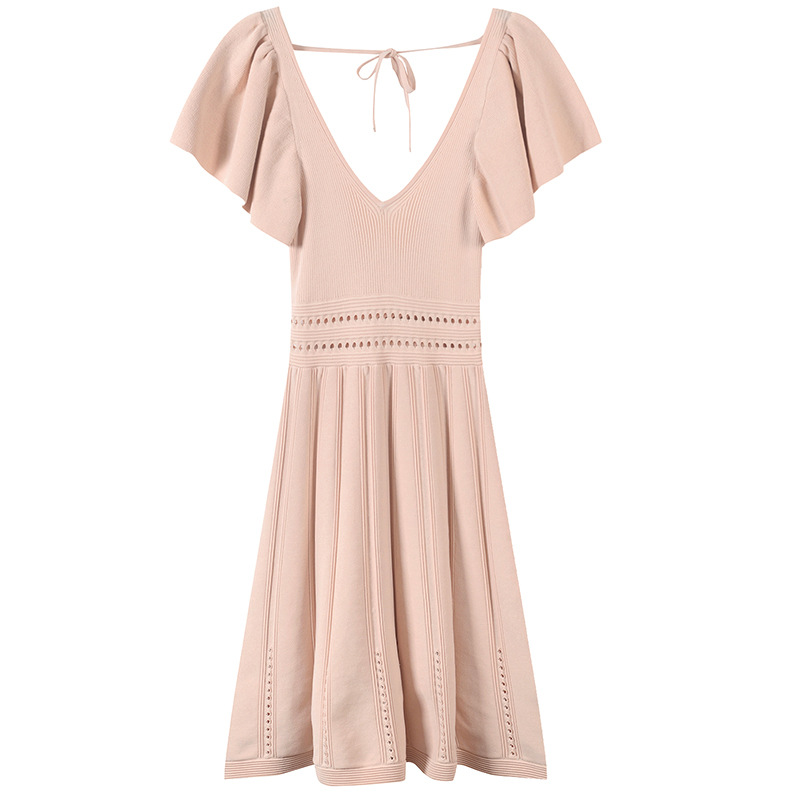 Slim Hollow Out Dress Femme Summer Elegant Robe Women Dress Lace Up Pullover Hole Knit Vestido