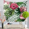 CAMMITEVER Tapestry Flower Colored Printed Decorative Tree Tapestry Green Leaves Leaf Wall Carpet