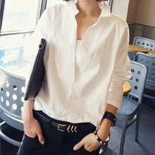 Women long sleeve blouses V collar white shirt