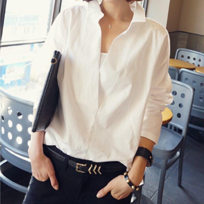 2020 new women tops autumn long sleeve blouses V collar white shirt female lace shirts women clothing solid casual blouse D95 30 Women Women's Blouses Women's Clothings cb5feb1b7314637725a2e7: White