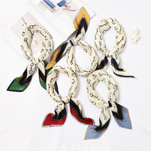 High Quality Square Print Crinkle Small Silk Scarf For Women Crumple Neck Wear Pleated Foulard Femme Bandana Handkerchief