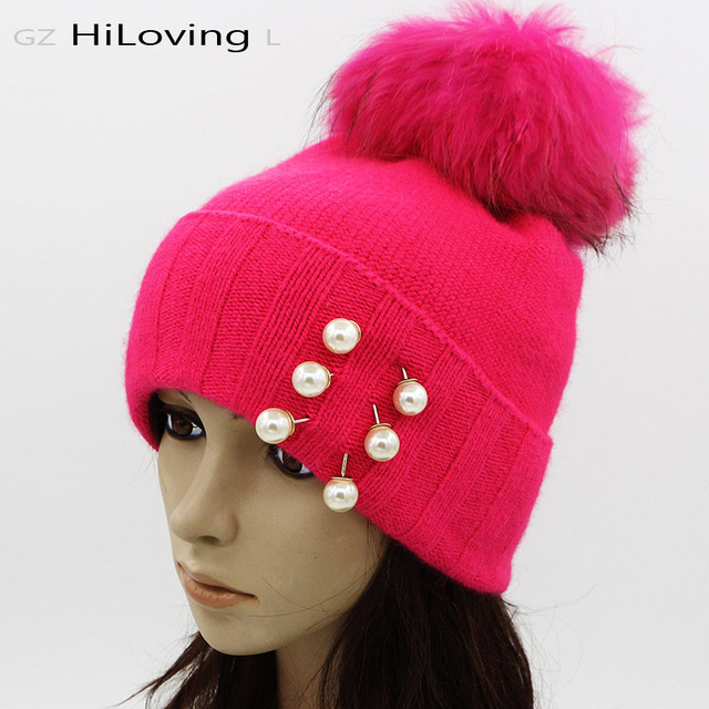 GZHilovingL  Wool Womens Beanies Fur Hat Winter Rabbit Fur Hat With Real Fur pompom Fur Ball Beanie Hats Thick Gorros Cap Ladies