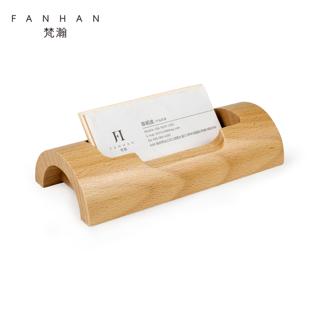 fanhan wooden business card stand creative fashion memo box bank credit card holder desktop storage box - Business Card Stand