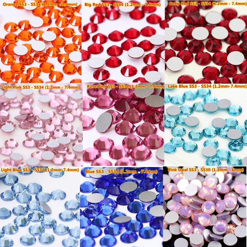 1440pcs svarovski crystal ss20 4.8mm 30 Colors Non Hotfix Flat backs Crystal nail rhinestone for nails art decoration 3d