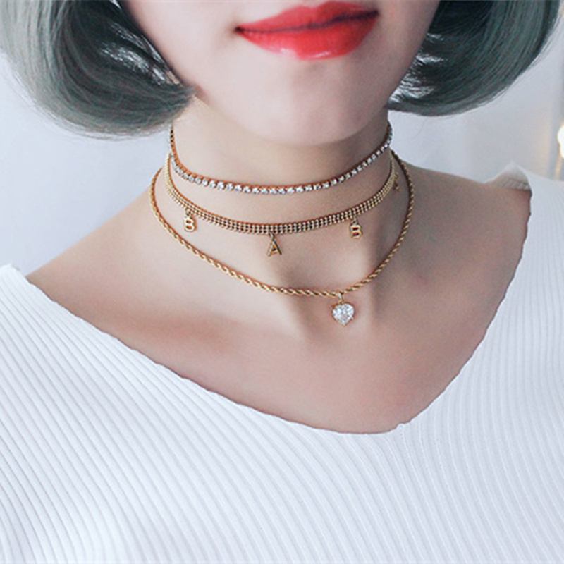 LWONG Simple Gold Color Baby Heart Rhinestone Chain Choker Necklace for Women Dainty Layered Pendant Necklaces Chokers Jewelry