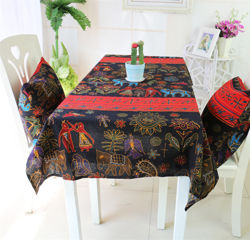 Cotton & Linen Printing Fabric Tableclothes For Rectangular Tables National Style Elephant Tea Table Cover For Restaurant Hotel