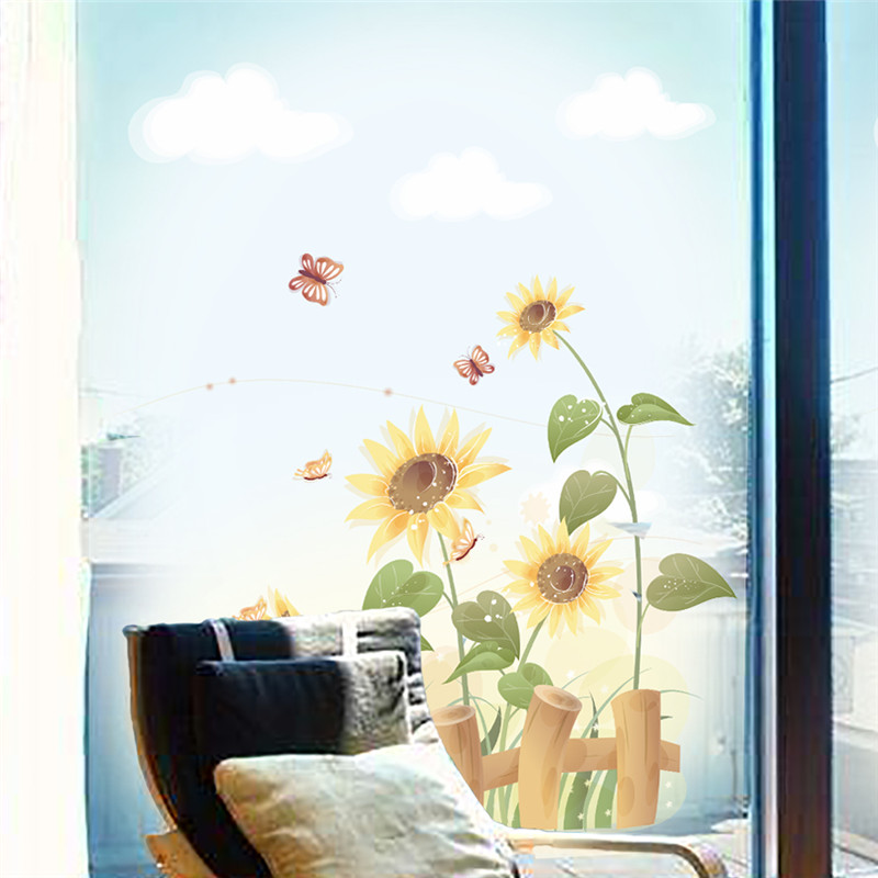 Garden sunflower wall sticker beautiful scenery wall decal bedroom living room window wall art for Beautiful wall stickers for living room