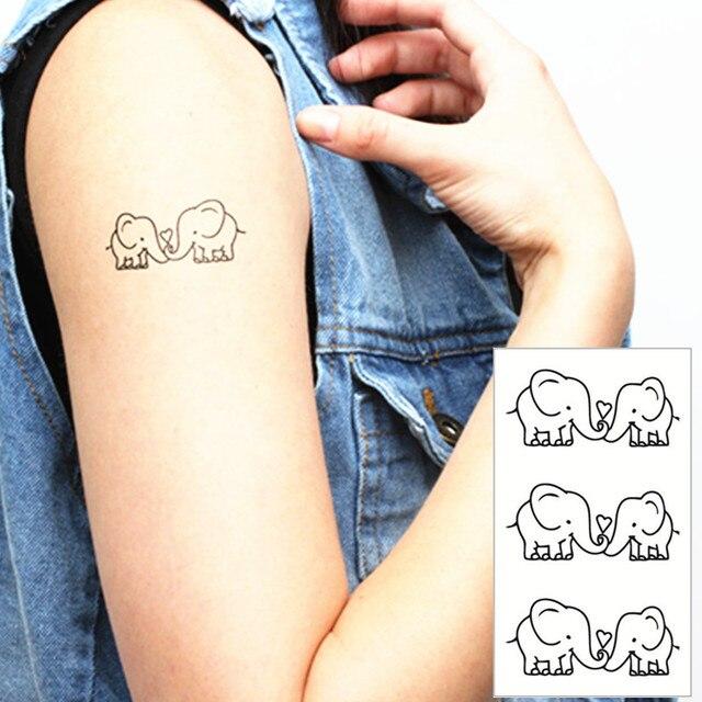 Éléphant blanc flash tatouage main autocollant 10.5*6 cm petit
