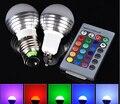 2 pçs/lote E27 GU10 RGB 3 W lâmpada 16 Cores Mutáveis Lâmpada Lâmpada AC85-265V Com 24 chaves Controle Remoto IR