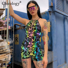 Chicology backless mushroom print playsuit 2019 summer women sexy streetwear Gothic rompers female club shorts jumpsuit clothes
