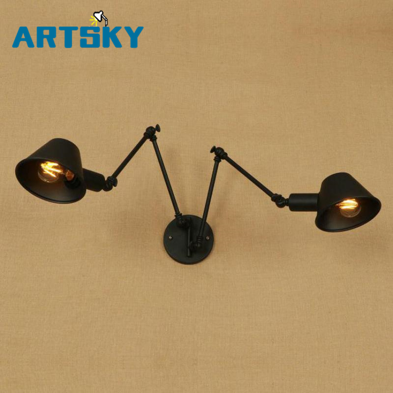 2 arms Black iron Wall light sconce for Restaurant Coffee Shop Bedroom Adjustable wall fixtures Retro vintage Wall Lamp Arandela ac100 240 wall sconces lamp three arms adjustable study restaurant art lights decorative wall light sconce fixture