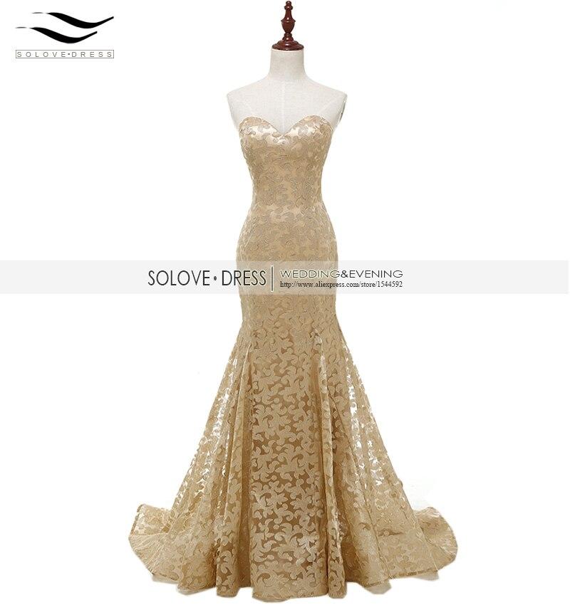 Slovedress Womens Off the Shoulder Elegant Sweetheart Gold Lace Formal Evening Dress Mermaid Gown Vestido De