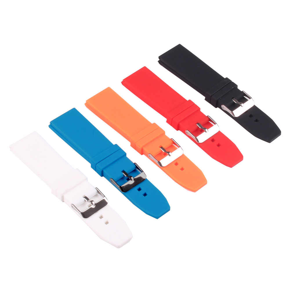 Silicon Rubber 16/18/20/22/24/26/28mm Bright-Colored Solid Watch Multi Color Army Military watchbands Strap Bands Buckle 18mm