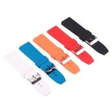 De silicium En Caoutchouc 16/18/20/22/24/26/28mm Lumineux-Couleur Solide montre Multi Couleur Armée Militaire bracelets Bandes Bracelet Boucle 18mm