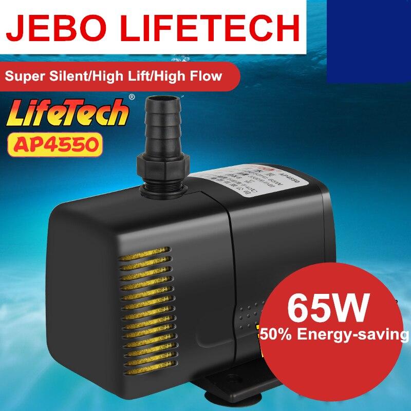 JEBO LIFETECH High Power 65W Water Pump With Filter Sponge Aquarium Mutifuctional Submersible Pump Fish Tank Water AP4550