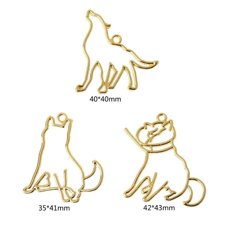 3Pcs Howling Wolf Dog Cat Profile UV Frames Pendant Open Bezel Resin Jewelry DIY