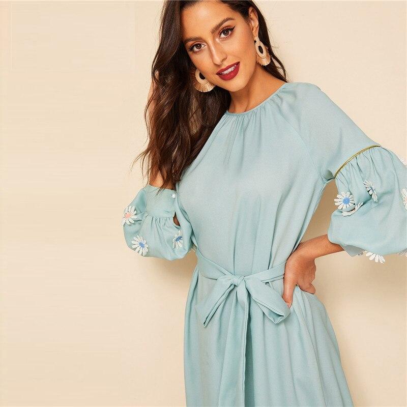 Green Keyhole Back Lace Appliques Belted Hijab Maxi Dress Women Spring Elegant Round Neck Lantern Sleeve Long Dress