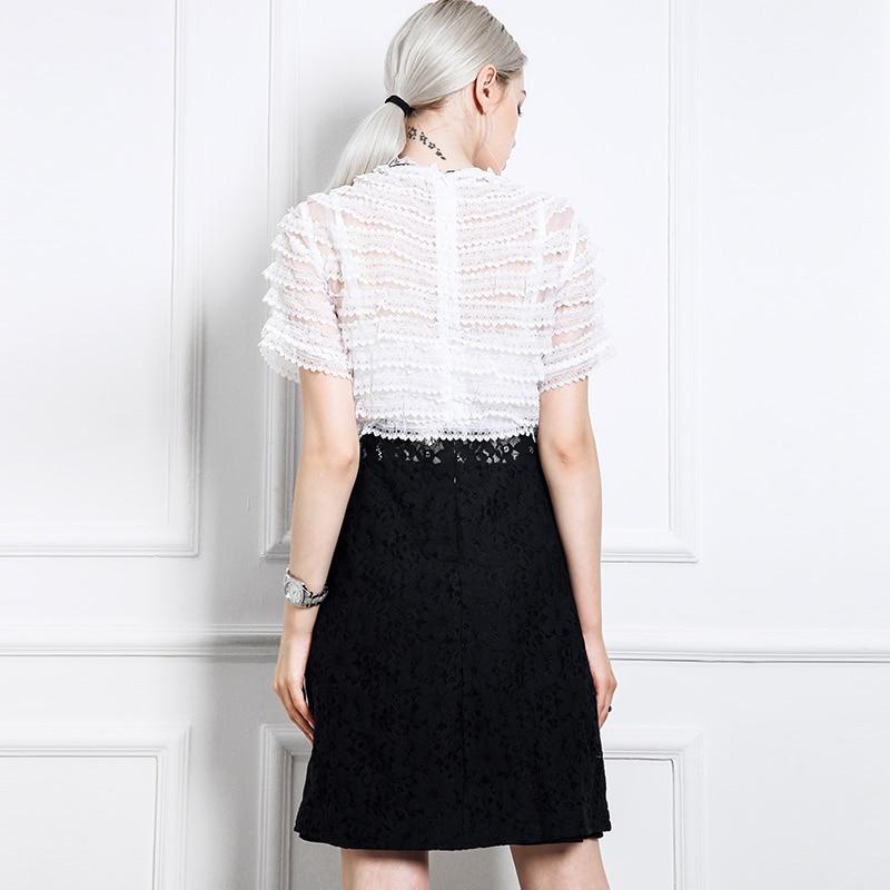 Ajouré Courtes Kenvy Nouvelle Mode Slim Dentelle Gamme Haut Robe Arc D'été Marque À Luxe Manches Couture De Femmes xHwaBq7