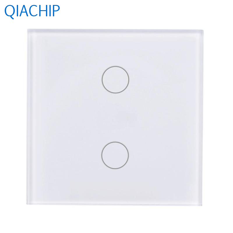 EU Plug Smart Switch 2 Gang Touch Wall Switch WiFi APP Remote Control Switch Tempered Glass Panel Timing Schedules AC 110V-240V wireless wall touch switch control light panel eu sensor wifi on off 3 gang rf433 240v smart controller