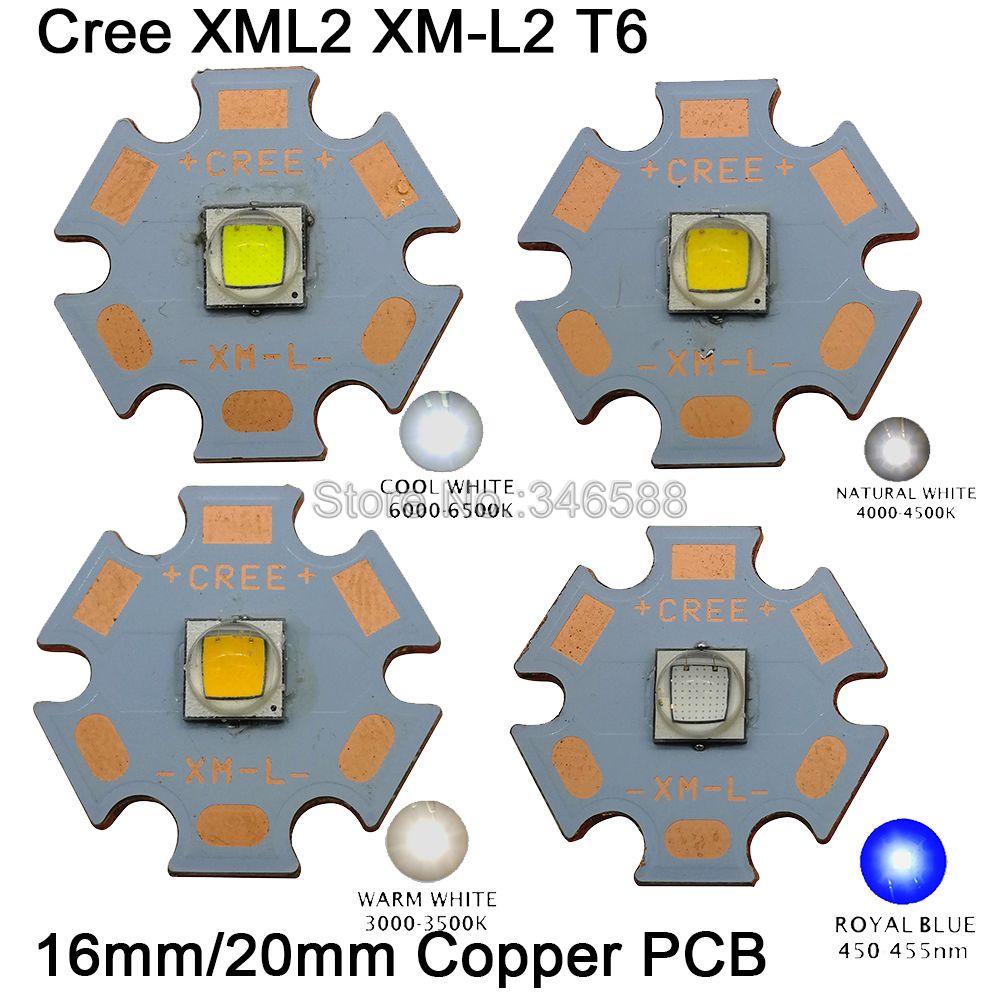 NEW Cree XM-L2 XML2 LED white 4000k T6 w// 16mm Round Base