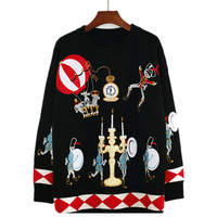 Winter Runway Sweater Women Luxury Brand Design Elegant Circus Soldiers Balloons Candles Embroidered Loose Warm Knitted