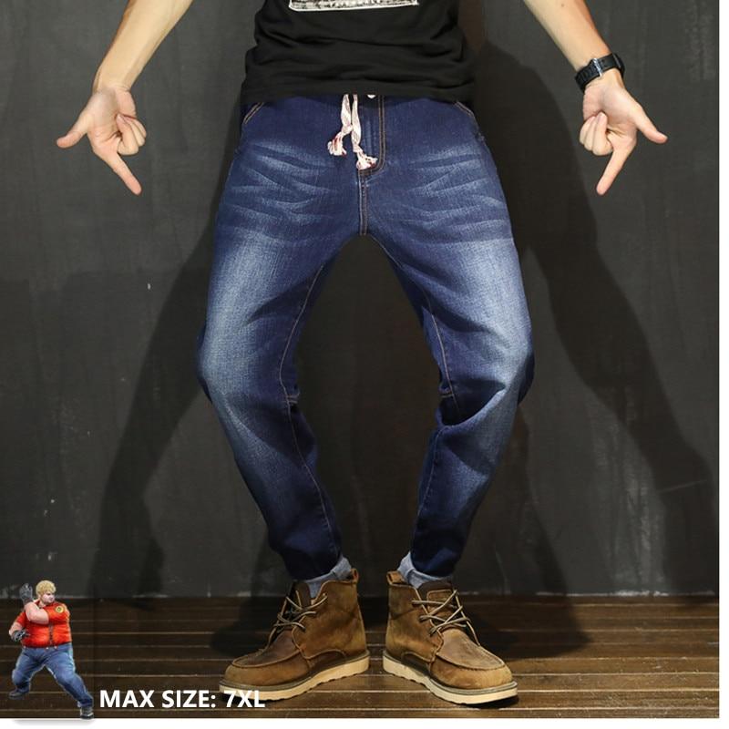 Men Jeans Streetwear Denim Hip Hop Black Jeans Homme Big Size 6XL Kot  Pantolon Harem Jean Slim