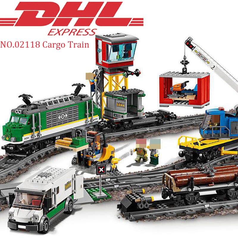 купить Lepin 02118 1373Pcs City Figure Cargo Train Set Model Building Kits Blocks Bricks Toy For Children Gift Compatible LegoING 60198 по цене 5983.78 рублей