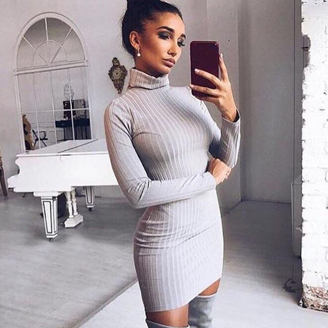 Dress Woemn 2017 Sexy Bodycon Dress Casual Turtleneck Long Sleeve Knitted Sweater Dress Slim Women Dresses Vestidos WS4277E