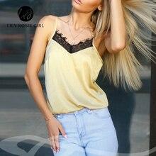 2018 Satin Women's Shirt Mike Strap Elegant Crop Top Sexy V neck Camis Women Short Sleepwear Female Lace Top Summer Party Blusa