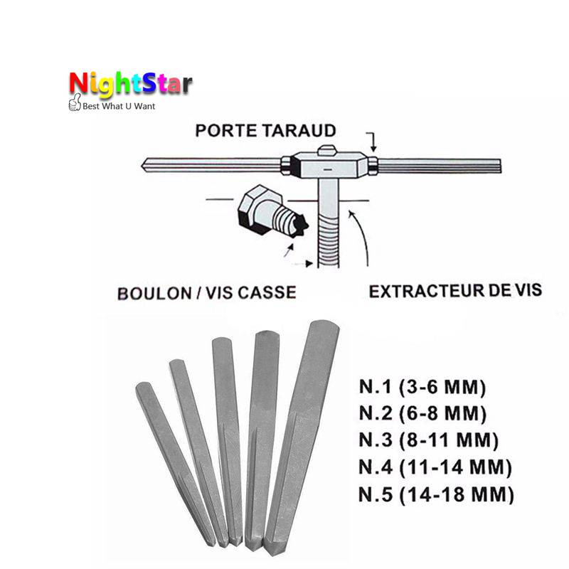 Drill Bits 5pcs Square Screw Extractor Breakage Bolt Extractor Drill Bits Guide Set Easy Out Fastener Kit