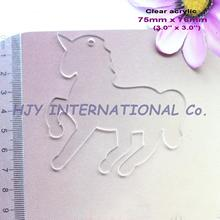 (6pcs/lot) 76mm Clear Blank Acrylic Key Chains Unicorn Acrylic Keychains Ornaments 3