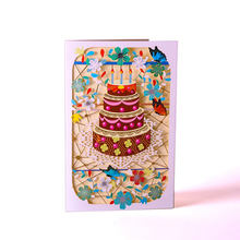 Greeting-Cards Postcard Birthday-Cake-Paper Gift Color-Printed Party Carving Creative