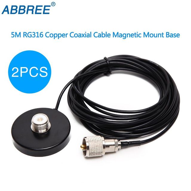 US $13 68 |2PCS Magnet Antenna Mount 5M Feeder Cable for Mobile Mobile  Walkie Talkie 5 5CM Diameter Connector PL259 Magnetic Antenna Base-in  Walkie