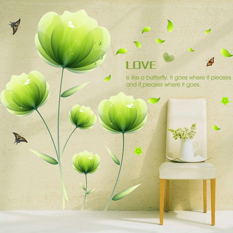 Top 180cm 300cm Big Spring Natural Green Flower Wall Sticker Home Decor Living Room Butterfly