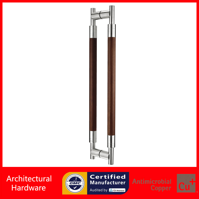 Entrance Door Handle Stainless Steel and Black Peach Solid Wood Pull Handles For Glass/Wooden/Frame Doors PA-211-38*600mm 2000mm length square tube golden entrance door handle stainless steel pull handles for wooden metal glass doors pa 637