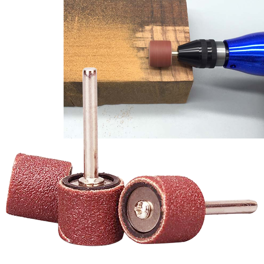 100pc Grinding Tool Sanding Band Drum Sandpaper +2 Mandrel For Sand Shape Groove Wood Fiberglass Dremel Rotary Tool