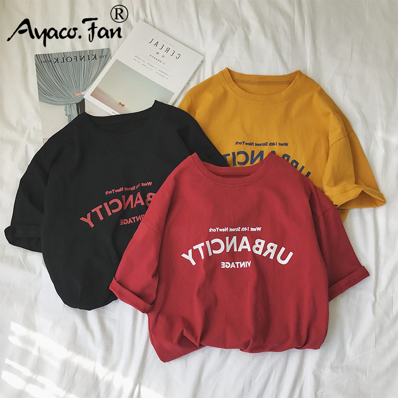 Harajuku kobiet t-shirty nowy 2019 lato zabawny napis druku Hip Hop luźny t-shirt dziewczyny Student Streetwear w stylu casual, damska topy Tees 4