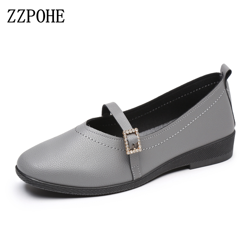 ZZPOHE 2017 Women Shoes Spring autumn Casual Comfortable Women Flats mother Soft bottom Slip on black Work shoes free shipping 2017 autumn and winter new plus velvet thick women s boots soft bottom comfortable breathable mother shoes wild leather