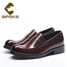 Sipriks Mens Dark Brown Slip-On Dress Shoes Genuine Leather Footwear Gents  Suit Formal Tuxedo 67fb209f93c2