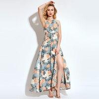 Young17 Sommerkleid Frauen Expansion Lange Beachwear Sleeveless Blumendruck Halfter Halfter Orange Kleid Weibliche Maxi Kleid