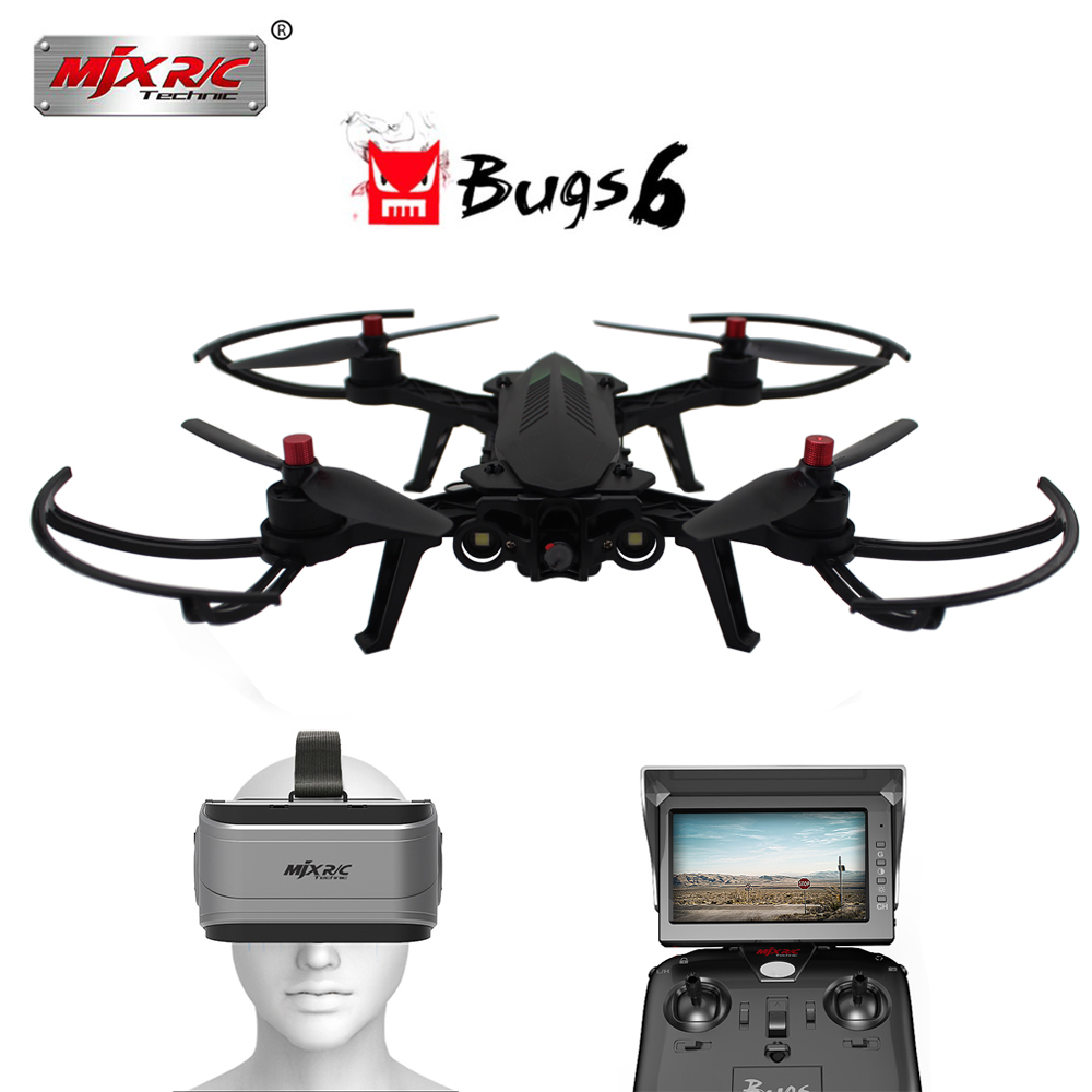 MJX Bugs 6 B6 2.4G RC Helicopter Brushless Motor RC Drone with 720P 5.8G FPV HD Camera and VR Glass Live Video Quadcopter VS X8 mjx bugs 3h b3h rc helicopter brushless motor rc drone with h9r 4k fpv camera quadcopter mjx bugs 3 upgraded version vs syma x8