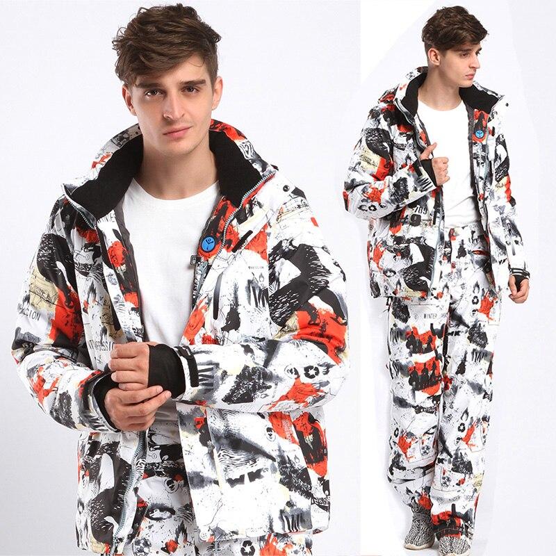 Hiver Impression nouveaux hommes Ski costume Super chaud vêtements Ski Snowboard veste + pantalon costume coupe-vent imperméable vêtements d'hiver