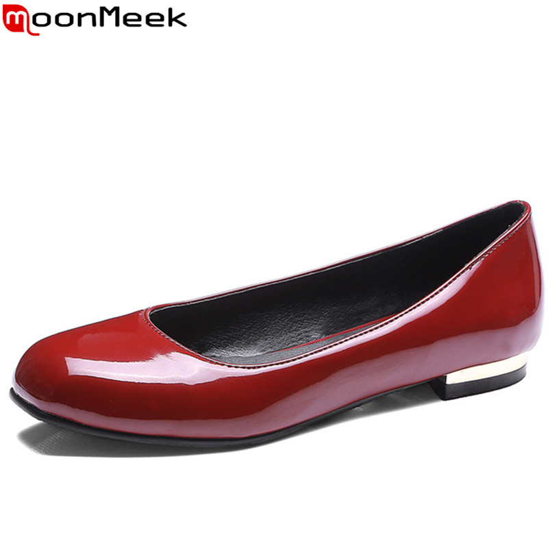 MoonMeek plus size 33-46 fashion square toe shallow casual flat single shoes simple comfortable women flats spring autumn shoes lin king fashion pearl pointed toe women flats shoes new arrive flock casual ladies shoes comfortable shallow mouth single shoes