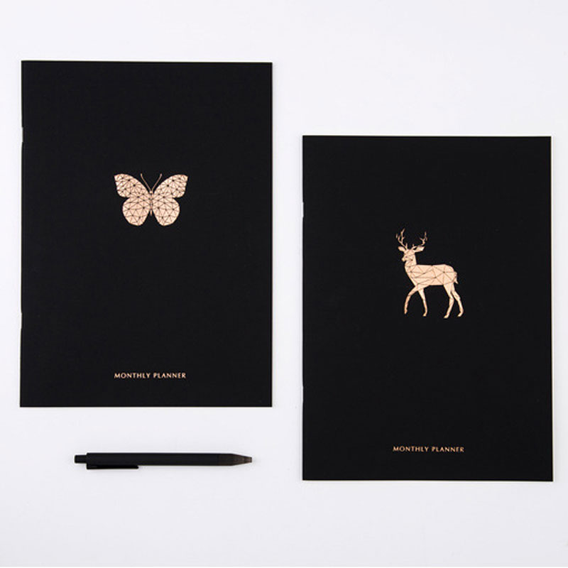 2018 Year Calendar Monthly Plan Notebook Elegant Black Gilded Printed Animal Decoration Organizer Agenda Diary Planner Book A4 assurant 360º 4 year tablet protection plan $0 $49 99