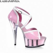 LAIJIANJINXIA nuevas sandalias de cristal 15 cm zapatos de tacón alto 6  pulgadas flor boda magnífico 8e941e85300f