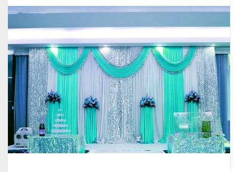 Special Offer 10ftx20ft sequin wedding backdrop curtain with swag backdrop/ wedding decoration romantic Ice silk stage curtains
