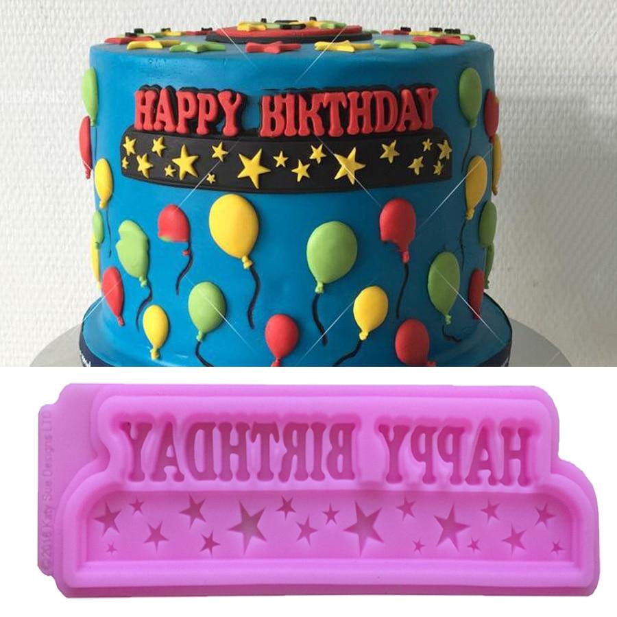 1pcs Happy Birthday Shape Silicone Mold For Fondant Cake Mold