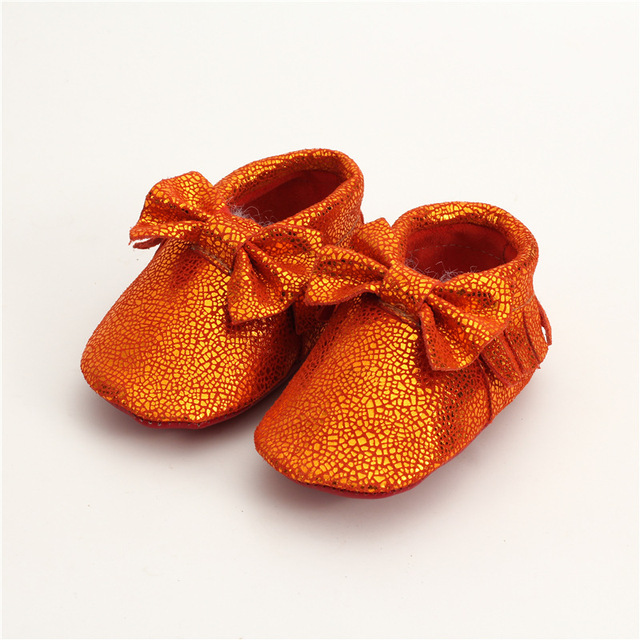Real leather Baby moccasins mirror surface soft bottom Bow Baby boys Girls Shoes First Walkers Free shipping 0-24M