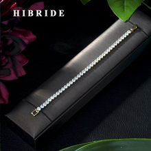 HIBRIDE Fashion Yellow Gold Color Round AAA Cubic Zircon Chain & Link Tennis Bracelet for Elegant Women Party Jewelry B-25 lbjie fashion jewelry gold color plated aaa cubic zirconia bracelet women elegant chain link adjustable bracelets